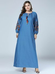 f4d0fd60074 Denim Dress Women Plus Size 4XL Spring 2019 Autumn Flower Embroidery Full  Sleeve Loose Jeans Dress Casual Tassel Maxi Dresses