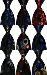 black weaves Canada - Ties for men Silk Floral Print necktie Blue Black Red Yellow Jacquard Party Wedding Woven Fashion Design