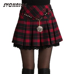 b931dea51 Fashion Autumn Winter Skirt Women Spring Schoolgirl Sexy Short Gray red Pleated  Skirt Mini Plaid Skirts Women Faldas Saia Y19042602