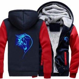4bb759af Lucky horse Hoodie luminous Winter Cardigan Coat Cashmere Hoodie Super Warm  2019 Men Women Thicken Fleece Zipper Men's Coat Plus size