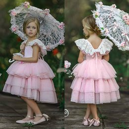 Cute Puffy Wedding Dresses Australia - 2019 Gorgeous Puffy Little Girls Pageant Dresses Cute Tulle Party Dress Pink Flower Girl Dresses for Wedding