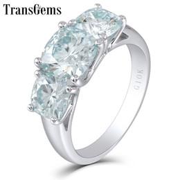 Wedding Ring Types Australia - Transgems Three Moissanite Engagement 10k White 3 Stone Type Gold Ring For Women Fine Jewelry Wedding Gift C19032501