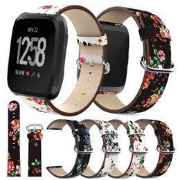 $enCountryForm.capitalKeyWord Australia - For Fitbit Versa band Genuine leather Wristbands Straps Bracelet Luxury Flower printing Strap Replacement Watch Accessories