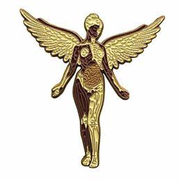 Rock bRooch online shopping - Nirvana rock band pin in uterus music badge Angel art brooch heavy metal fans gift Grunge decor