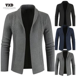 men shawl sweaters NZ - Men Clothes Spliced Criss-cross Knitted Cardigan Man Coat Mens Sweaters Mans Shawl Collar Sweater Men's Clothing Male Knitwear