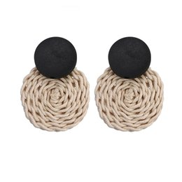 $enCountryForm.capitalKeyWord UK - Ear Stud Handmade Earrings Wedding Jewelry Bohemia Round Weave Wax Line Vintage 1 Pair Costume