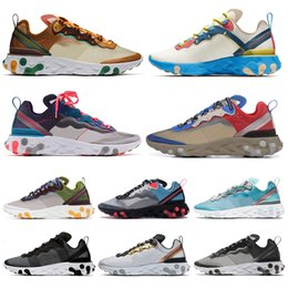 Leather seam online shopping - React Element SE Taped Seams Red Orbit Men Women Running Shoes Royal Tint Metallic Gold Anthracite Mens Trainer Sports Sneakers