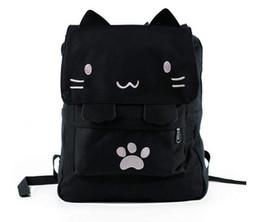 Cute Japanese Backpacks UK - Joyloading Black College Cute Cat Embroidery Canvas School Laptop Backpack For Women Kids Japanese Cartoon Kitty Paw Schoolbag