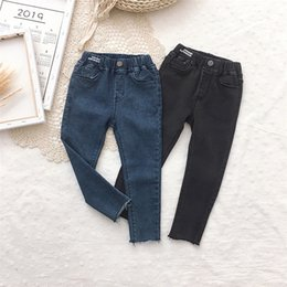 $enCountryForm.capitalKeyWord Australia - Fashion kids jeans girls casual denim pants children double pocket elastic waist soft cowboy trouser 2019 fall new girl clothes F9618