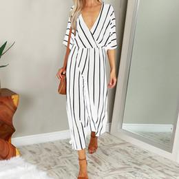 $enCountryForm.capitalKeyWord Australia - 2019 Fashion Women Jumpsuit Summer Casual Wide Leg Pant V-neck Short Sleeve Striped Rompers Office Long Playsuit High Bodysuit MX190726