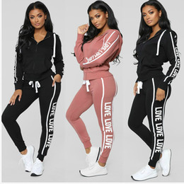 TracksuiT sweaTsuiT online shopping - 3 Colors Womens Two Piece Sets Slim Casual Tops and Skinny Pants Set Female Sweatsuit Printed Piece Tracksuit