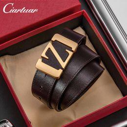 $enCountryForm.capitalKeyWord NZ - Designer Belts for Mens Cowhide Luxury Belt Leather Business Belts Z Letter Big Gold Buckle with Box Top Quality