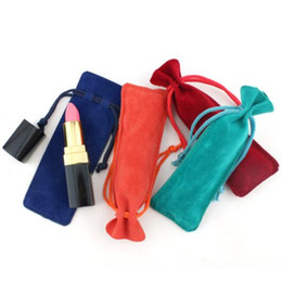 Wholesale fashion dust coats resale online - Fashion Jewelry Cosmetic Lipstick Packbag Prevent Dust Velvet Drawstring Bag Perfume Toothpick Lipstick Bag Gift Bags Gifts Wrap WY129Q