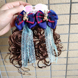 halloween lace wig NZ - Curly Wig Hair Bow Clip Hair Accessories Princess Girl Lace Pearl Cute New Sweet Kids Braid Hairpin Headwear 0108