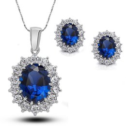 $enCountryForm.capitalKeyWord Australia - Royal Blue Colour Crystal Pendant Necklace Earrings Set 2019 New Silver Elegant Jewelry Set Women Valentine Gifts