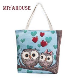 Printed Lady Handbag Cartoon NZ - Miyahouse Cartoon Owl Printed Shoulder Bag Women Large Capacity Female Shopping Bag Canvas Handbag Summer Beach Bag Ladies