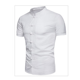 long sleeved chinese collared shirts UK - Foreign trade trend men's collar shirt summer new Chinese wind button buckle solid color short-sleeved casual shirt T411