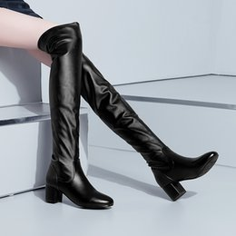 $enCountryForm.capitalKeyWord Australia - 2019 Autumn Winter Pu Over-the-Knee Boots Slip-on Stretch Slim Boots Round Toe Hoof Heels Two Versions Shaft Plus Size 34-43