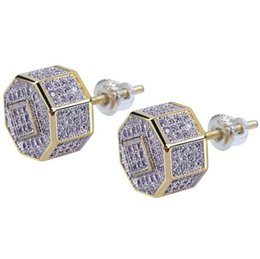 19290530c 2019 New Custom Hip Hop 12mm Iced Out Gold Color Micro Paved Zircon Square  Stud Earring with Screw Back Bling Jewelry For Men