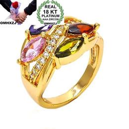 $enCountryForm.capitalKeyWord Australia - OMHXZJ Wholesale European Fashion Woman Man Party Wedding Gift Luxury Colorful Zircon 18KT Yellow Gold Ring RR722