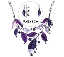 $enCountryForm.capitalKeyWord Australia - blingbling Low price wholesale Jewelry Earrings Sets Leaf shape color drip diamond necklace set multi-color Delicate decoration