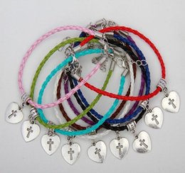 ancient crosses jewelry Canada - New Style Ancient Silver Heart-Shaped Cross Charms Mixed Color Braided Rope Bracelets Designer Bracelet Women Men Jewelry Best Friends Gifts