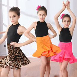 Wholesale latin dances costumes resale online - Girls Carnival Jazz dancewear costume Kids Modern Latin Ballroom Party Dancing Dress Child Dancing dress wear clothes For Girls