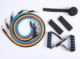 Toptan satış 11 adet bir set çekme halat spor egzersizleri direnç bantları lateks tüpler pedal excerciser vücut eğitimi egzersiz elastik bant