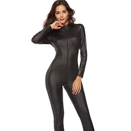 19c7cd6fe11 Black Sexy PVC Catsuit Costumes for Women Punk Erotic Motorcycle Jumpsuit  Zipper Faux Leather Catwoman Bodysuit