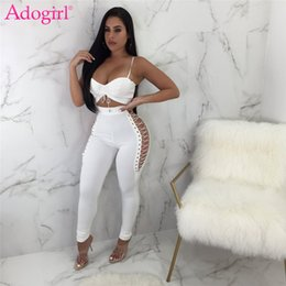 a8853ca48574 Adogirl Women Sexy Club Two Piece Set Drawstring Spaghetti Straps Bra Top  Grommet Crisscross Hollow Out Pants Casual Outfits
