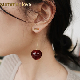 3d resin pendants Canada - 2019 Unique Design Sweet Fruit 3D Red Cherry Resin Pendant Earring for Women Gold Alloy Fashion Drop Earrings