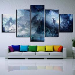 $enCountryForm.capitalKeyWord Canada - 5 Panel HD Printed fantasy elk deer psychedelic fawn modern art painting wall art Canvas Print room decor poster canvas Free shipping