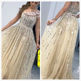 luxurious one shoulder dress Australia - Aso Ebi 2019 Arabic Gold Luxurious Gold Sexy Evening Dresses Beaded Crystals Prom Dresses One Shoulder Formal Party Second Reception Gowns