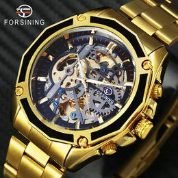Man Watches Golden Australia - en's Watches Mechanical Wristwatches FORSINING Royal 3D Skeleton Man Auto Mechanical Watch TOP BRAND LUXURY Golden Dial WINNER Mens Autom...