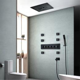 $enCountryForm.capitalKeyWord NZ - Embedded Ceiling Showerhead Waterfall Thermostatic Shower Faucets Rainfall Shower Head LED Light Black Shower Set Massage
