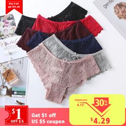 $enCountryForm.capitalKeyWord Australia - 3pcs cotton lace panties for women lingerie Tempting sexy Briefs underwear Seamless Low-rise Panty Hip Up female Underpants