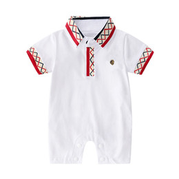 HigH neck embroidery designs online shopping - baby boy clothes romper turn down collar short sleeve Gentleman Embroidery design romper cotton high quality boy baby romper clothes