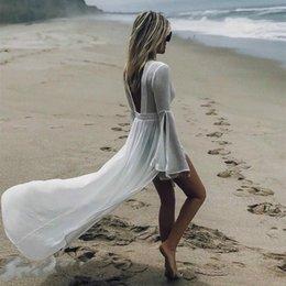 $enCountryForm.capitalKeyWord Australia - 2019 HOT women's Beach dress sexy white tulle halter bikini Cover-Ups long beachwear