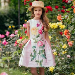 Wholesale Girl Princess Summer Dress Brand Kids Flowers Dress for Baby Girl Summer Clothing Baby Dress for Party and Wedding