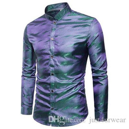shiny satin shirts Australia - Mens Shiny Silk Satin Shirts Glitter Smooth Water Ripple Print Shirts Male Nightclub Disco Party Stage Homme Shirts