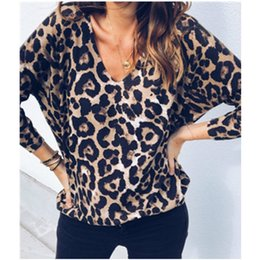 0b69c094f723f Sexy Leopard Printed T Shirts Women Vintage V-neck Autumn Shirts Casual  Loose TShirts Tops Plus Size 2XL T-shirts Blusas M0208
