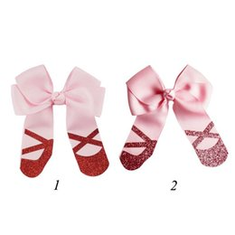 handmade hair bow boutique UK - 2Pcs lot Boutique PInk color Grosgrain Cheer Bow Handmade Hair Bows With Clip School Girls Dance Party Hair Accessories