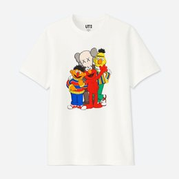 Wholesale pink browning t shirt for sale – custom 2020 new lovers shirts man women casual t shirt short sleeves UNIQLO X KAWS X SESAME STREET L fashion clothes tees outwear tee tops quality