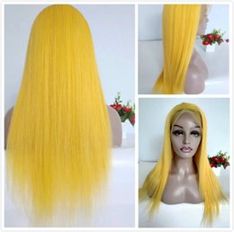 Glueless Wig Braids For Australia - Yellow Glueless Human Hair Lace Front Wigs Brazilian Straight Braided Wig For Black Women 150% Density Colored Full Lace Wig Natural Hairlin