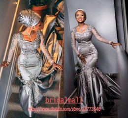 Royal couRt gowns online shopping - New Grey Appliques Satin Mermaid African Evening Dresses Long Sleeves Elegant Square Formal Celebrity Gowns Court Train Sexy Long Prom Dress