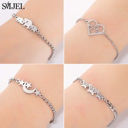 Discount white bracelet chain boys - Cheap Chain & Link SMJEL Fashion Stainless Steel Family Elephant Bracelets Girl Boy Women Charm Adjustable Gold Brac