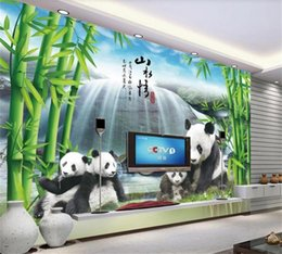 modern beds for kids Canada - custom size 3d photo wallpaper living room bed room kids mural panda bamboo forest waterfall picture sofa TV backdrop wallpaper wall sticker
