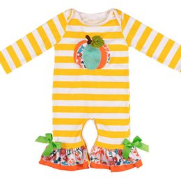 Venta al por mayor de Bebé recién nacido mameluco rayado calabaza bordado arco cuerno de Halloween mamelucos del bebé del bebé del bebé niña diseñador de ropa 0-3T