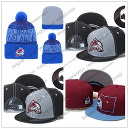 0a611bc4308 Colorado Avalanche Ice Hockey Knit Beanies Embroidery Adjustable Hat  Embroidered Snapback Caps Red Black Gray Stitched Hats One Size