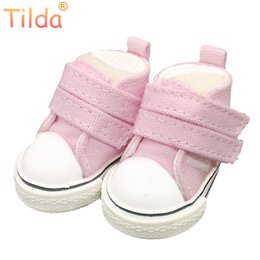 textile shoes Australia - doll boots Tilda 5cm Canvas Shoes For Cloth Dolls Textile Rag Doll 1 6 BJD Denim Sneakers Shoes for RagDoll Toy Accessories 5pairs lot